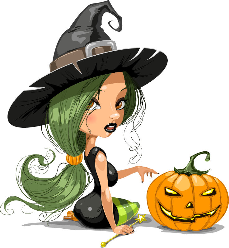 Pretty Witch with Halloween Vector Illustration 2